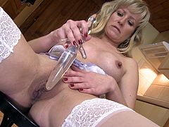 Stay with me as I fuck my shaved cunt with this glass dildo. My pussy is eager for something big and hard inside it. Keeping these hot thighs spread I masturbate and moan with desire. Maybe a young boy with a big cock will fuck my cunt better then I'm doing it. Do I deserve a real cock inside me?