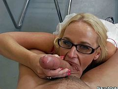 Dee Siren is his milf teacher with hot body. Big meloned four-eyed blonde in black stockings sucks his hard young cock before he takes care of her wet juicy pussy. Stacked milf is horny as hell.