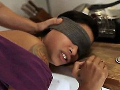 Slender babe Skin Diamond with beautiful tattoos and small natural boobs doesnt know who is fucking her holes today because she was fucked being blindfolded!