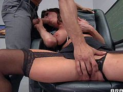 Dean Veronica Avluv is a hot bodied busty MILF. She is sex hungry and has a nice time sucking cock of new teacher Danny Mountain. Mature slut exposes her shaved twat as she gets face fucked.