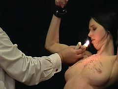 Bigtitted slavegirl Emilys explicit masochism and whipping torture of crying english Porn model