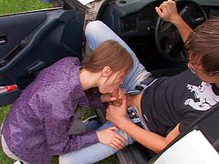 Dirty and really aroused girl Beata makes her partner really turned on and then sucks his hard rod in the front car seat as soon as they pool over by some park