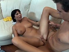 Cock addicted black haired babe with huge boobs and fine ass Conny lets her man fuck her tight cunt missionary and doggystyle.