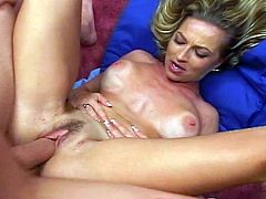 This blonde milf with perfect tits is enjoying cock in her mouth and then in her used pussy. Her face is covered in cum.