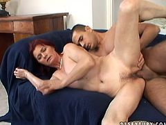 This slutty mature lady loves sex very much. She gets her snatch fingered and then fucked in different poses.
