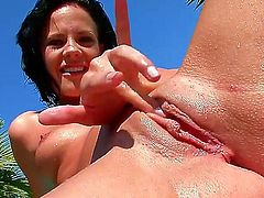 Liz has a holiday and she wants to spend her wonderful morning near the pool masturbating her sweet pussy. The chick likes the sun and warm water and cums with moans