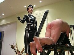 Femdom Empress Maxena do hard military caning of poor squirming slave :-) Enjoy