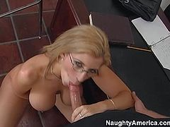Professor Sara Jay is a busty cougar that bares her bazookas and spreads her legs in front of a hot student. He licks her shaved mature pussy and then she takes his love bone in her mouth.