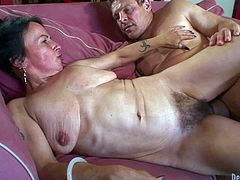 Horny granny Miss Nina Swiss with hairy pussy gets her fuck hole filled with young hard cock. She takes his sausage so deep in her love tunnel. She has fun fucking her mature bush on the couch. Enjoy!