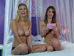 Emily Addison gives interview on the bed