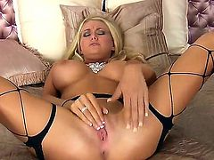Here is the blonde bitch Blake Rose that looks so cool and that gonna do her best for you! Watch the glamour chick in stockings fingering her snatch talking dirty.