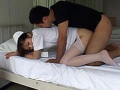 The Japanese nurse Yuu Asakura is going to suck cock, get her pussy licked and fucked and take a nice facial cumshot.