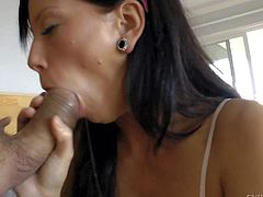 Hot chick Brooklyn Lee in jeans gets her mouth filled with big meaty cock and loves it. She gags on nice jelly dildo before she makes heavy dick disappear deep down her throat.