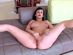 Have fun with delicious provocative hot brunette babe Jennifer White. Enjoy this fascinating sex kitten touching her pretty boobs and fingering her soaked tiny bald pussy