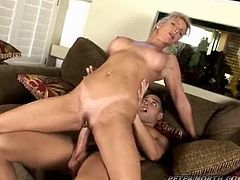 Horny blonde girl gives an amazing blowjob to a guy and fingers her pussy at the same time. Then she gets fucked cowgirl and doggystyle.
