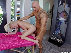 Gorgeous Blonde Elaina Raye's Shaved Pussy Needs A Dick Inside