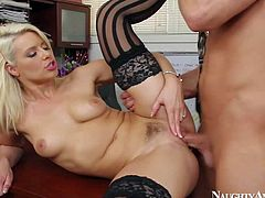 Great office fuck with pretty blonde Anikka Albrite