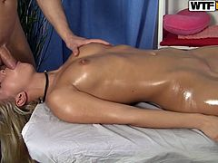 It is so easy to make Russian chicks horny. This gorgeous amateur blonde blows cock during massage session. Dude touches and rubs her shaved twat!