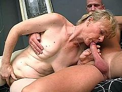 Quaggy granny Maria gives a head to kinky dick