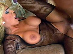 Slender mature beauty Carmel Moore is riding on the hard dick and getting nice load of jizz in her face