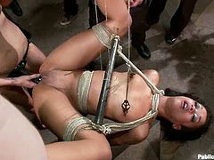 These people love to watch rough sex with pretty girls. So, sexy brunette babe gets tied up and fucked rough.