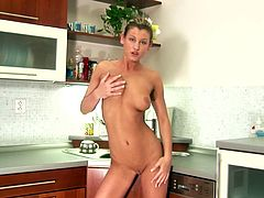 Super horny and playful blondie is being a great wife today. This scene is about how she gets naked in a sexy moves, showing off her beautiful shapes.