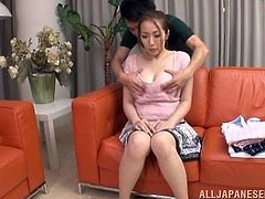 Naughty Japanese girl gets her ass and boobs massaged. After that she lies down on a sofa and gets her pussy licked. After that she gives hot blowjob.