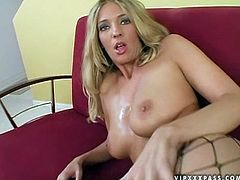 Pretty blonde girl with big ass and boobs shows her stunning body and then gets fucked in her mouth. After that she also takes big dick in her pussy.