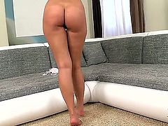 It is more than hard to resist delicious brunette honey Kira Queen while she is revealing her sexy feet and long legs made for spreading. She needs something hard!
