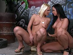 Pretty lesbians Larissa Dee and Simony Diamond are having some good time together. They caress each other and then eat and finger one another's smooth pussies.