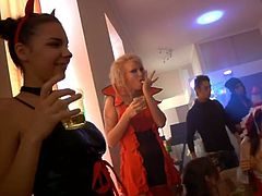 A college costume party turns into an orgy with all these babes taking off their costumes so they can get some cock and they're sucking and fucking to their heart's content. Guys jack off all over the place.
