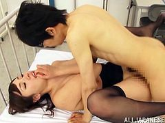 This Japanese honey is just amazing! She seduces her student and sucks his cock. Then he lets him fuck her tight snatch and he doesn't believe that it is happening!