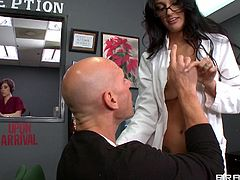 Sensual doc Amber has a very busy life but she still makes time for her favorite patients such as Johnny. She approached him wearing almost nothing underneath her medical gown and receives a nice pussy fingering from the man that makes her horny. The slutty doc then kneels for cock and fills her mouth with it.