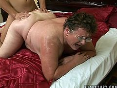 Fat ass granny Tifany is having a lot of pleasant moments with this dude. She barely spreads her legs and he barely finds her hole.