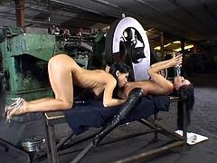 Leather boots brunette fucked in pussy by a toy
