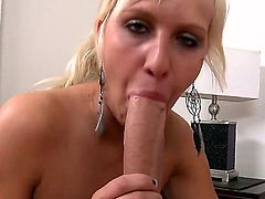 Blonde bitch Destiny Jaymes kneels and starts playing with enormous huge cock of her new boyfriend Domenic Kane. She sucks the cock like a candy before getting sperm in mouth.