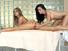 Aleska Diamond and Krystal Love in hot lesbian sex video. Brunette girl gets a massage and then gets her pussy licked.