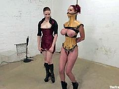 This filthy and dirty minded siren Mz Berlin is so fucking nasty! She gets suspended and then tied up on her juicy melons.