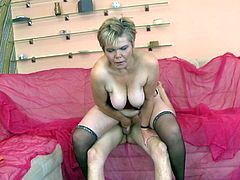 Mature slut Helena may look like she's a decent lady but actually she's a fucking filthy whore. Helena loves filling her throat with cock and when that's not enough for her so goes on top and receives all that dick deep in her womb. Check her out ridding dick with pleasure and maybe how she get filled with jizz