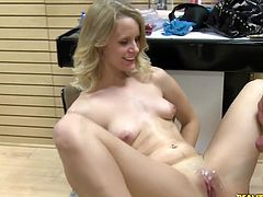 Creaming her Lovely pussy. Meggan is stoked to leave laid and paid!