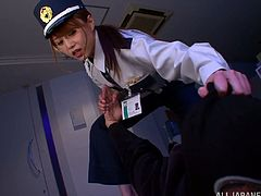 Hot Akiho Yoshizaw catches the burglar. But she decides to have some fun first. She gives him a footjob and makes him cum.