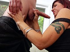 From the moment this guy stepped in the house Brittany gave him those lustful looks. she was anxious for his dick and didn't even waited for the guy to take of his suite before sucking his dong. She knelt like a whore and began to suck and swallow his dick. She likes cock in her mouth, maybe she will get semen too