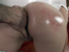 Lustful brunette Busty Daisy shows her nice ass to the guy and lets him play with her holes. Then the man drives his prick into Daisy's brown eye and fucks it deep and hard.