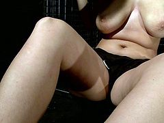 Busty brunette Hellena shows her nice wet pussy to salacious lesbian Mandy Bright and lets her fuck it deep and hard with a dildo.