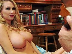 buxom blonde fucks the doctor!