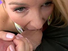 Magnificent whore and a lovely blonde at the same time Blake Rose is doing a very hot and spectacular blowjob while showing her big boobs and being anally raped by her man dick.