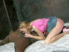 Flexible blonde doll with jaw dropping ass in pink undies and short denim skirt gets banged good by tattooed black hunk in amazing positions and takes on his stiff monster cock