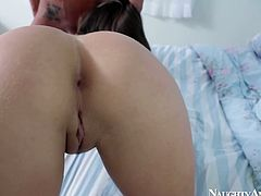 Comely brunette bitch Teal Conrad enjoys riding her cowboy