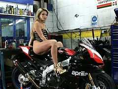 Feeling horny before getting ready to ride her bike, she spares some time to please herself. She masturbates her shaved pussy with her naughty fingers and moans with pleasure.