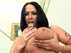 Chubby brunette Carmella Bing plays with some toys